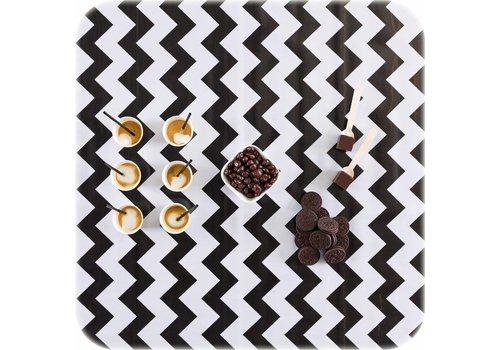 MixMamas Tafelzeil Zigzag Vierkant - 120 x 120 cm - Zwart