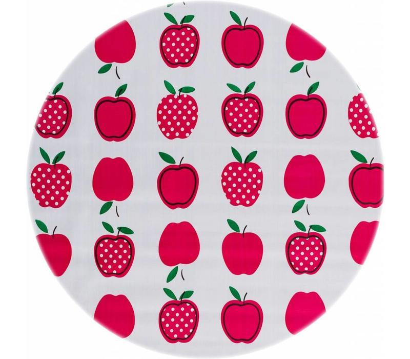 Rond tafelzeil 120cm appels stippels fuchsia
