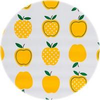 Rond tafelzeil 120cm appels stippels geel