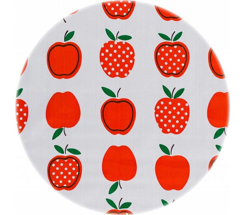 Rond tafelzeil 120cm appels stippels oranje