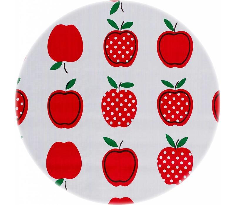 Rond tafelzeil 120cm appels stippels rood