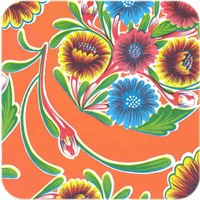 Mexicaans Tafelzeil Gebloemd Floral - 120 x 300 cm - Oranje
