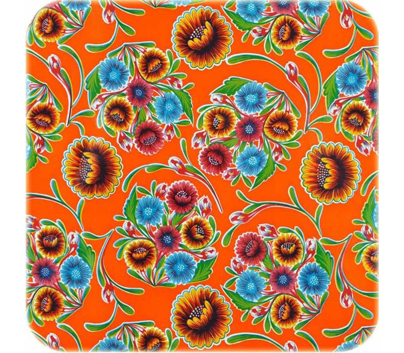 Mexicaans Tafelzeil 3m bij 1,20m Floral, Bloom oranje