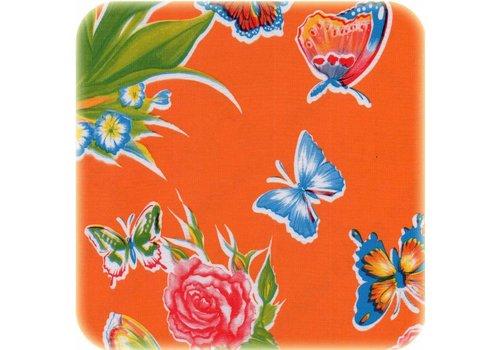 MixMamas Tafelzeil Vlinder - 120 x 300 cm - Oranje