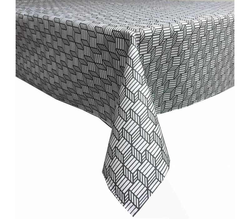 Tafelkleed Gecoat Kubussen - 140 x 200 cm - Grijs/Antraciet