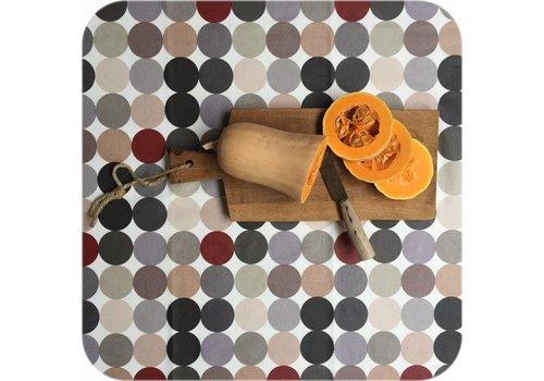 MixMamas Gecoat tafelkleed 2,5m grote stippen beigegrijs 1,4m