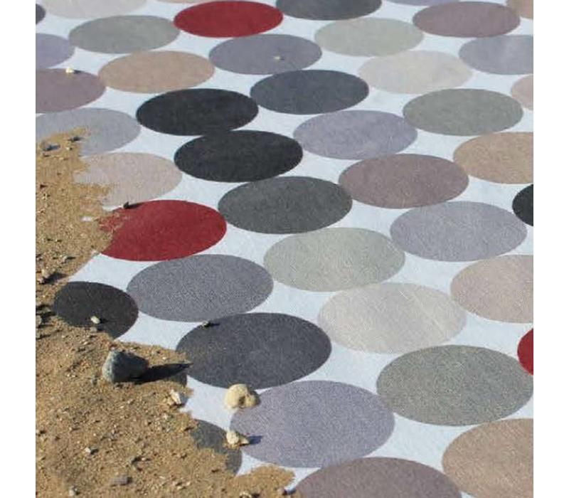 Gecoat tafelkleed grote stippen beigegrijs 2,5m x 1,4m