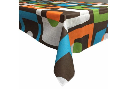 MixMamas Gecoat tafellinnen 2m Geometrisch retro 2m x 1m40
