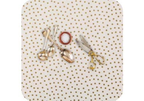 MixMamas Tafelzeil 2,5m Wit met gouden stippen
