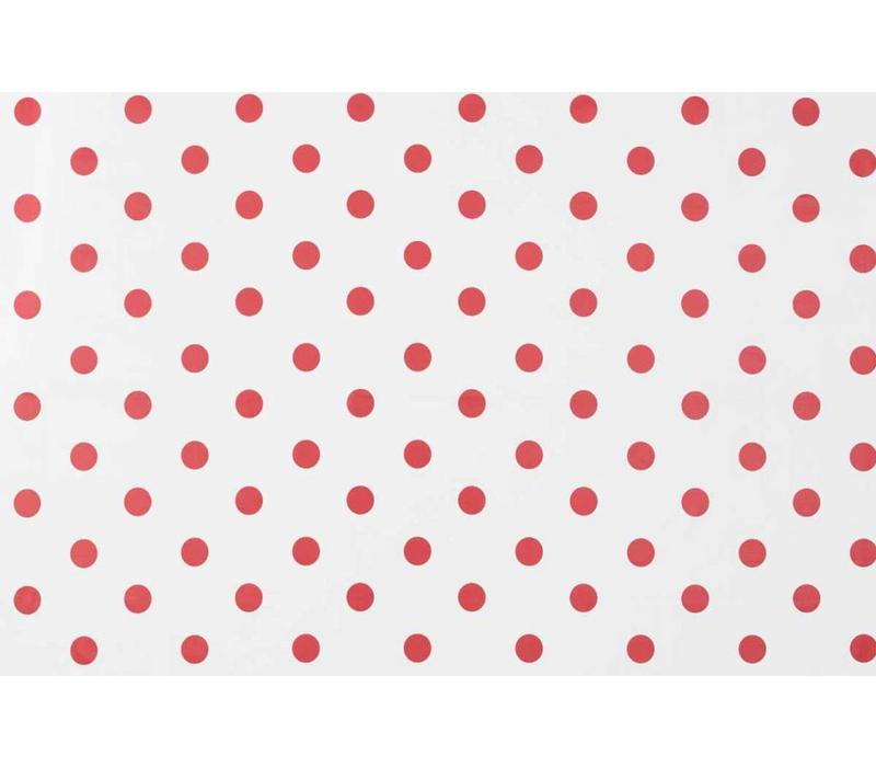 Tafelzeil Grote Stip - Rol - 140 cm x 20 m - Wit/Rood