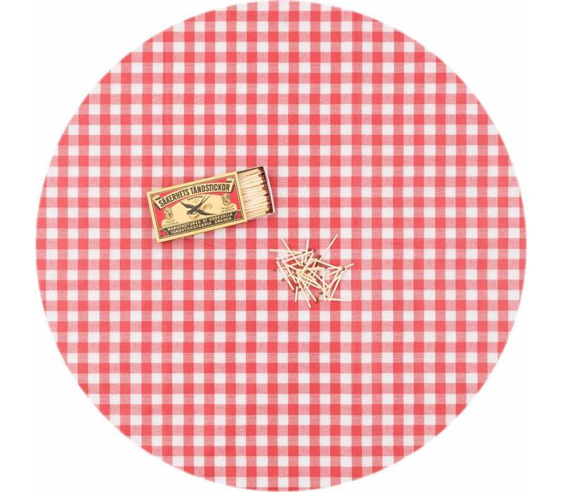 Europees Eco tafelzeil ruitje rood rond 140cm