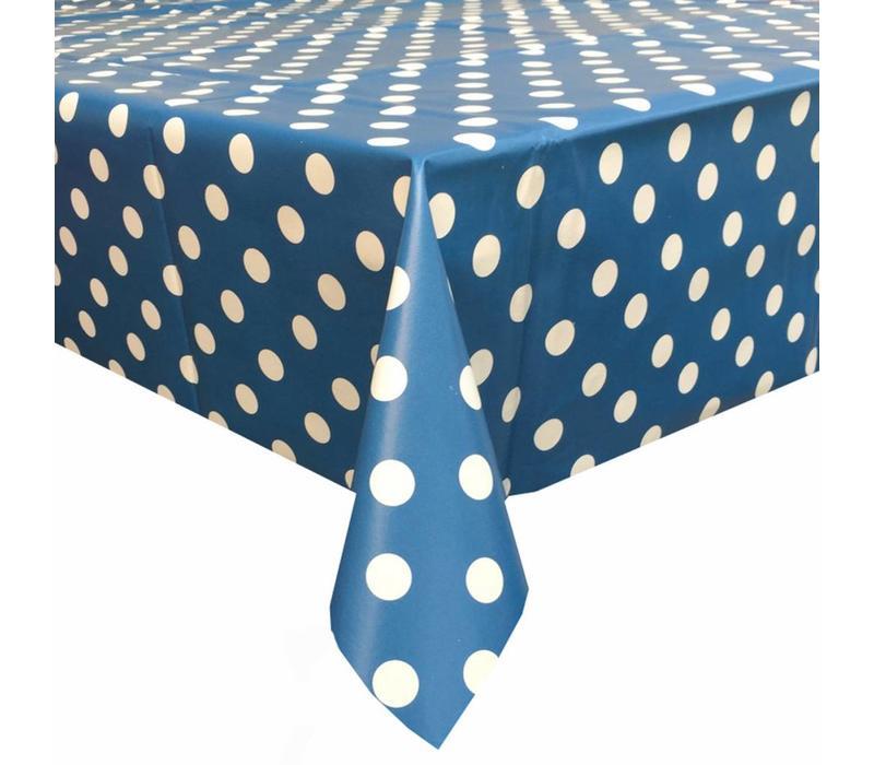 Europees Eco tafelzeil blauw-wit grote stip 2M