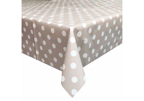 MixMamas Tafelzeil Eco taupe-wit grote stip 2,5M