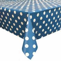 Tafelzeil Grote Stip - 140 x 300 cm - Blauw/Wit