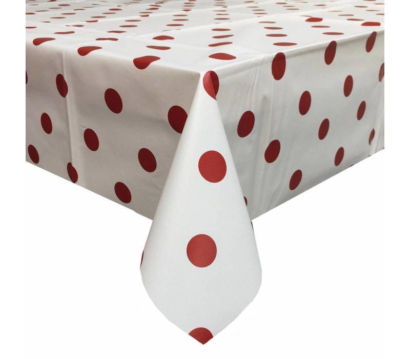 Europees Eco tafelzeil Wit met rode stippen 3M
