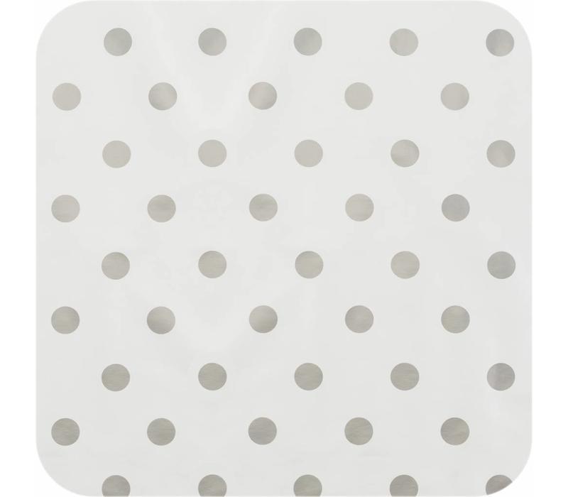Tafelzeil Grote Stip - 140 x 250 cm - Wit/Zilver