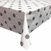 Tafelzeil Grote Stip - 140 x 300 cm - Wit/Zilver