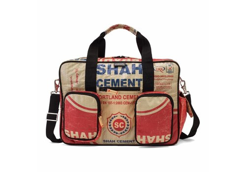 Used2b Used2b College bag Shah - Upcycled - Cement - 40 x 29 cm - Rood