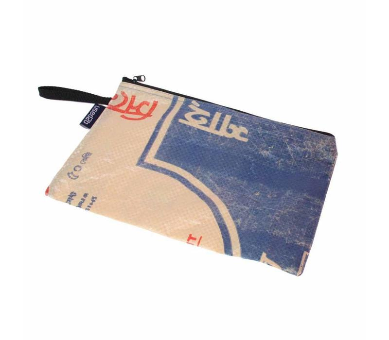 Plat etui XL upcycled Shah Cement blauw
