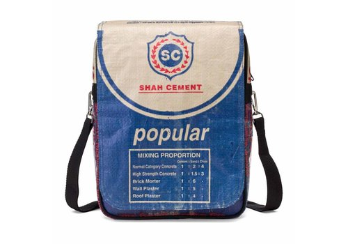 Used2b Used2b Urban Messenger Flap - Upcycled - Cement - 26 x 33 cm - Blauw