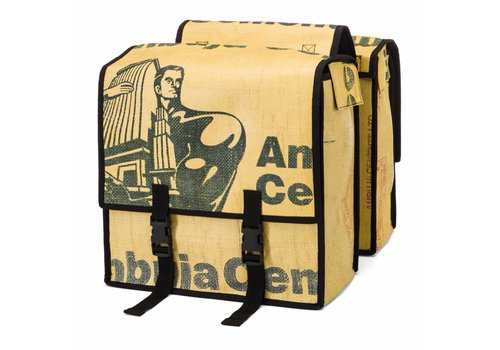 Used2b Used2b Dubbele Fietstas - Upcycled Cement Ballen - 44 Liter