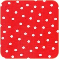Mexciaans Tafelzeil 2,5m bij 1,20m rood met witte stippen