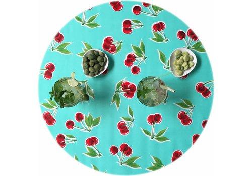 MixMamas Rond tafelzeil 120cm Kersen mintgroen