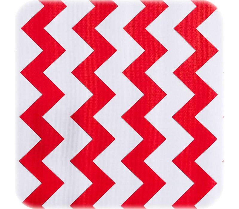 Rond tafelzeil 120cm zigzag rood chevron