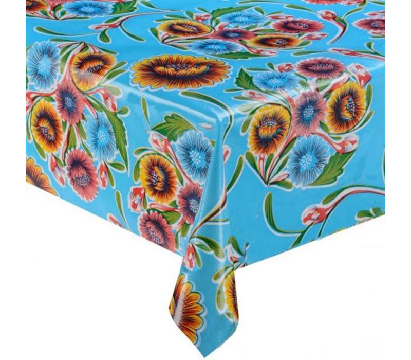 Mexicaans Tafelzeil Rond - Ø 120 cm - Gebloemd Floral - Lichtblauw
