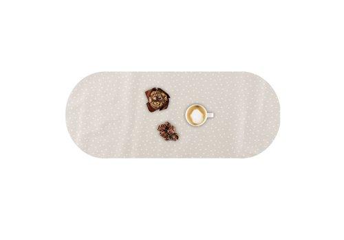 MixMamas Tafelzeil Eco Ovaal Beige met witte stipjes 300 cm