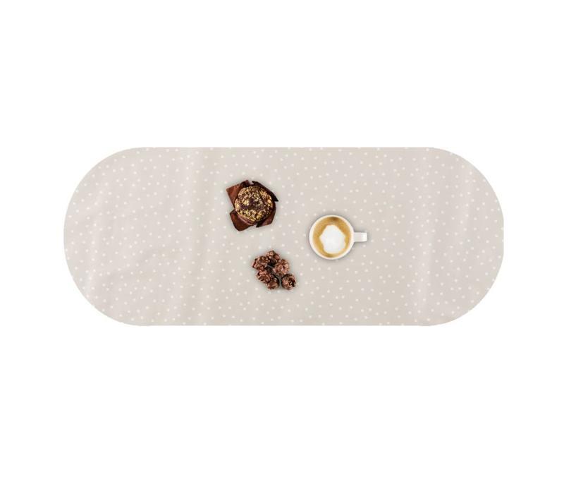 Tafelzeil Eco Ovaal Beige met witte stipjes 300 cm bij 140 cm