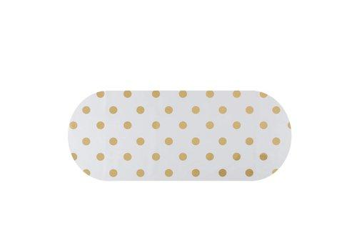 MixMamas Tafelzeil Eco Ovaal Wit met gouden stippen 300 cm