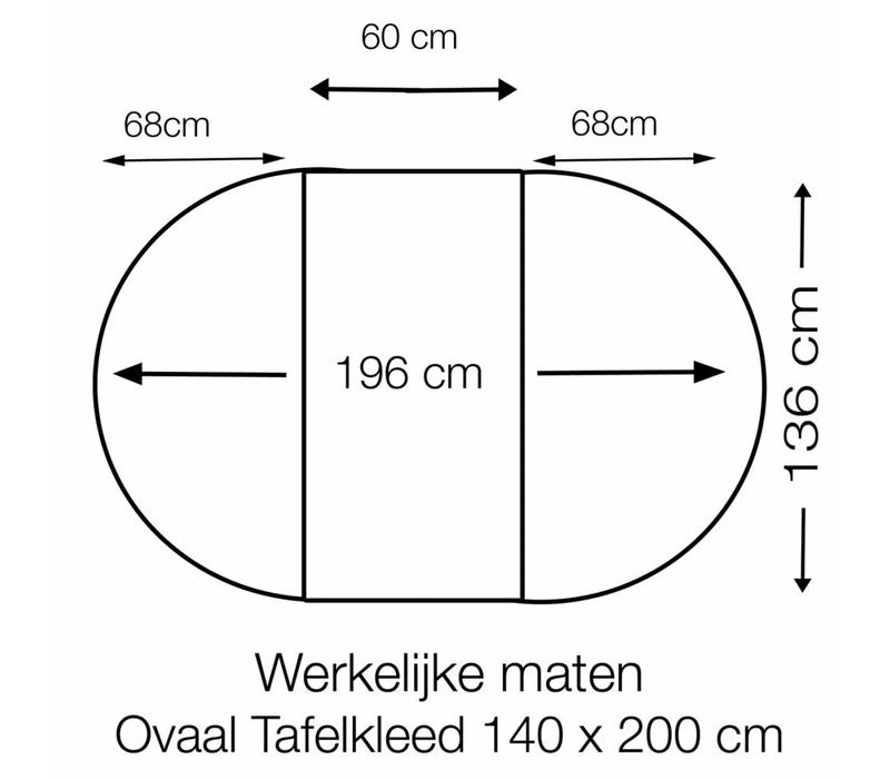 Tafelzeil Ovaal - 140 x 200 cm - Grote Stip - Wit/Goud