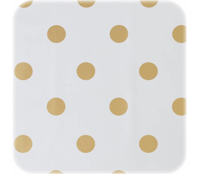 Tafelzeil Eco Ovaal Wit met gouden stippen 250 cm bij 140 cm