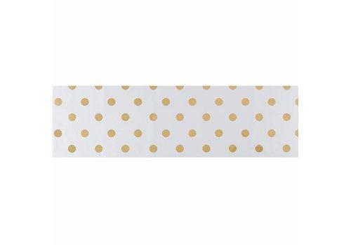 MixMamas Tafelzeil Biertafel Eco Wit met gouden stippen 5m bij 70cm