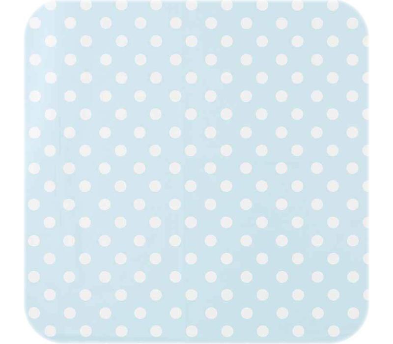 Tafelzeil Eco Ovaal Lichtblauw met witte stippen 250 cm bij 140 cm