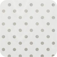 Tafelzeil Eco Ovaal Wit met zilveren stippen 300 cm bij 140 cm