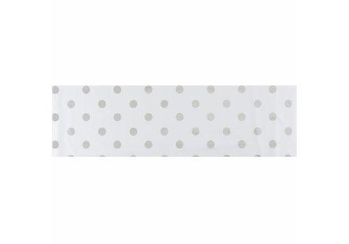 MixMamas Tafelzeil Biertafel Eco Wit met zilveren stippen op rol 5m bij 70cm