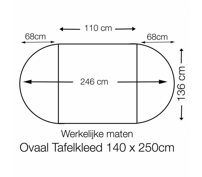 Tafelzeil Ovaal - 140 x 250 cm - Grote Stip - Zwart/Wit