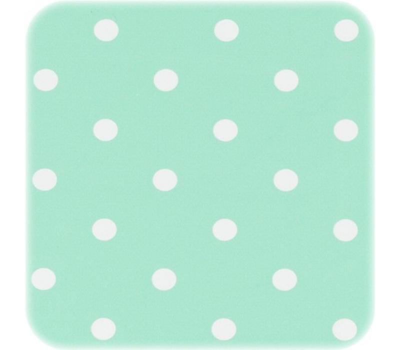 Tafelzeil Eco mintgroen met witte stippen 300 cm bij 140 cm