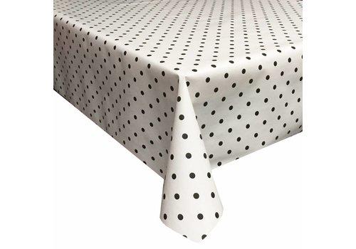 MixMamas Tafelzeil Eco wit met zwarte stippen 300 cm bij 140 cm