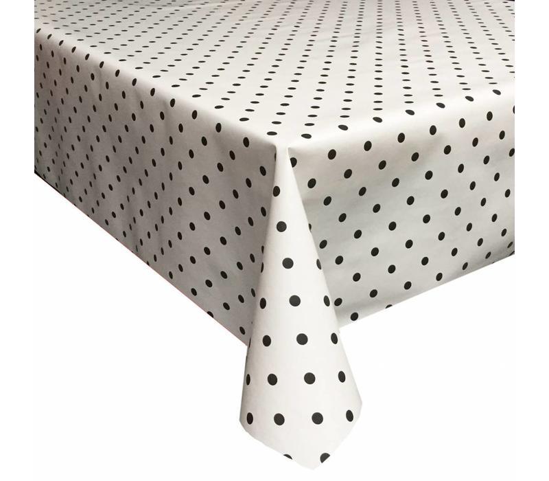 Tafelzeil Stippen - 140 x 300 cm - Wit/Zwart