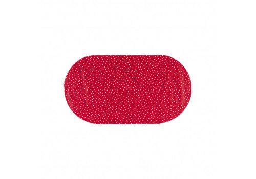 MixMamas Tafelzeil Eco Ovaal rood met witte stipjes 200 cm