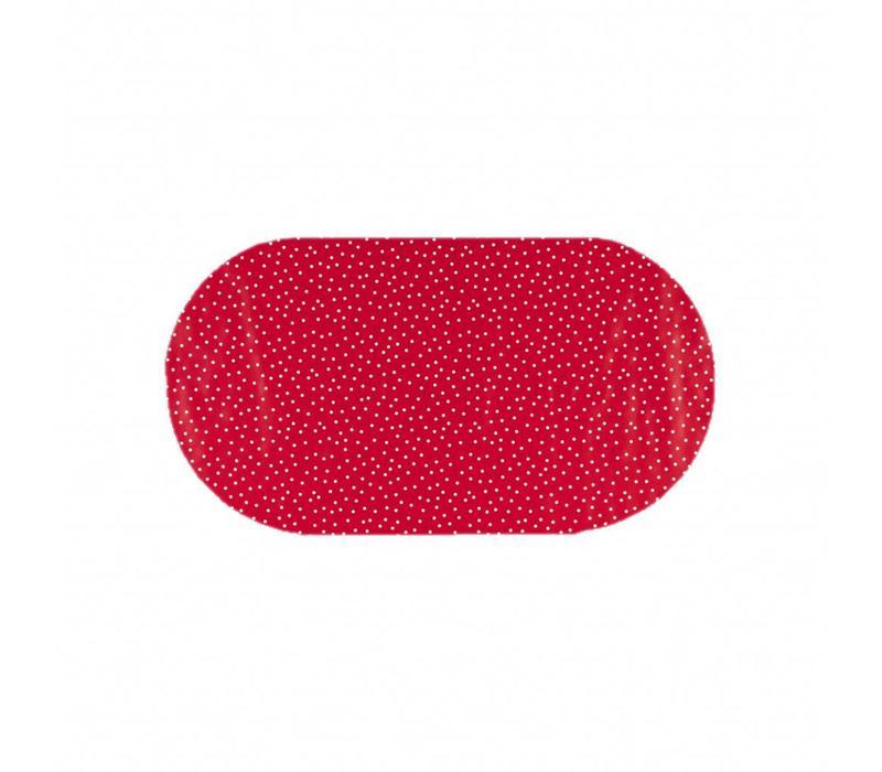 Tafelzeil Eco Ovaal rood met witte stipjes 200 cm bij 140 cm