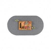 Tafelzeil Eco Ovaal Grijs met witte stipjes 200 cm bij 140 cm