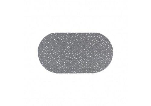 MixMamas Tafelzeil Eco Ovaal Grijs met witte stipjes 200 cm