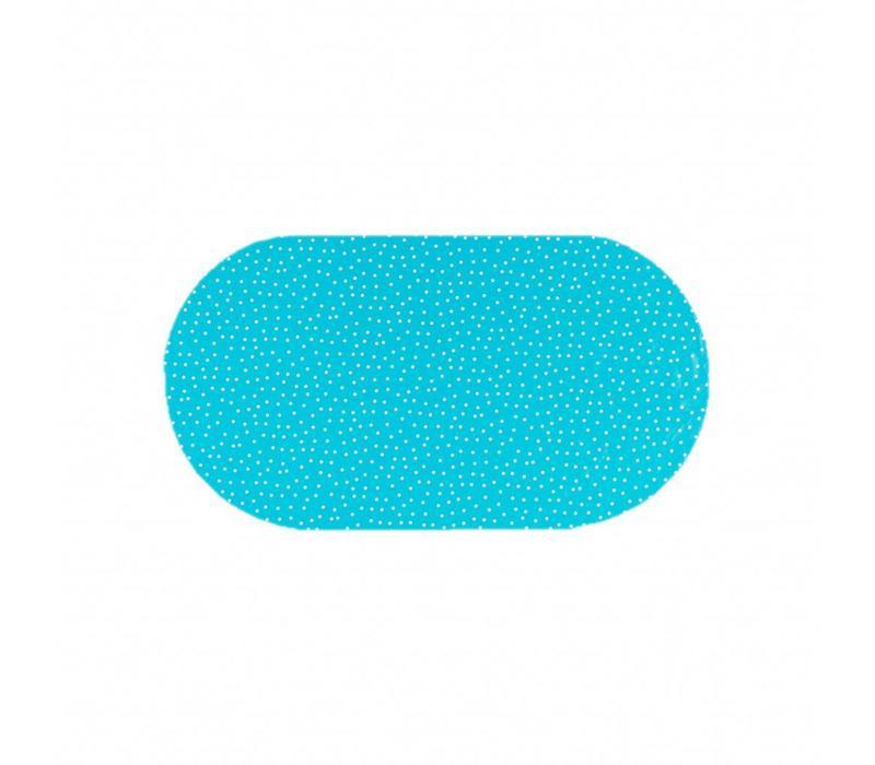 Tafelzeil Eco Ovaal Blauw met witte stipjes 200 cm bij 140 cm
