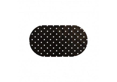 MixMamas Tafelzeil Ovaal - 140 x 200 cm - Grote Stip - Zwart/Wit