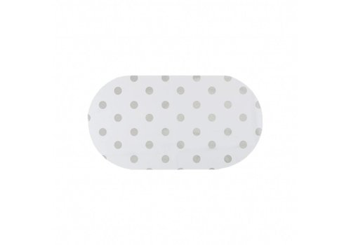 MixMamas Tafelzeil Eco Ovaal Wit met zilveren stippen 200 cm