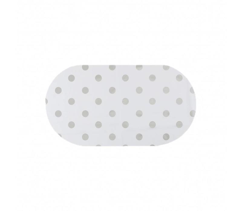 Tafelzeil Ovaal - 140 x 200 cm - Grote Stip - Wit/Zilver